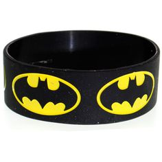 DC Comics Batman Logo Wristband (Black) ($4.37) ❤ liked on Polyvore featuring jewelry, bracelets, batman, accessories, rubber bracelets and rubber jewelry