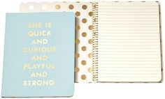 """Glamorous #notebook from kate spade new york features the quote """"she is quick and curious and playful and strong""""  #Notebook #School #Highschool #Student #Teens"""