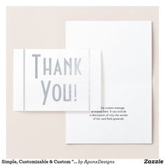 """Shop Simple, Customizable & Custom """"Thank You!"""" Card created by AponxDesigns. Thank You Greeting Cards, Appreciation Cards, Personalized Note Cards, Paper Envelopes, Colored Paper, Cards Against Humanity, Messages, Simple, Prints"""