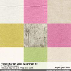 Vintage Garden Solids Paper Pack No. 01 Textured Solids and wood cardstock papers #designerdigitals