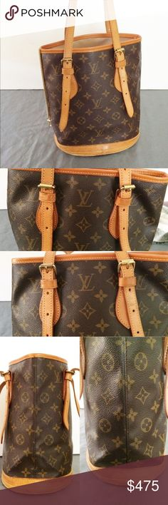 """Auth. Louis Vuitton PM Bucket Bag Monogram Preowned. Interior is very clean and light, excellent condition with no peeling or stickiness whatsoever. Light signs of use on outside trim along bottom. Please view all photos carefully, as they are an essential part of the description. Date code: FL0052. Dimensions : 10.2"""" height, 8.5"""" length, 6.2"""" depth. $1,380 original retail. Additional photos upon request. Price is firm. No trades. Louis Vuitton Bags"""