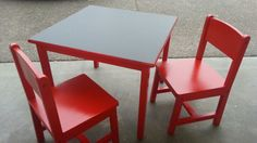 Kid's table and chair set painted candy apple red and painted chalkboard top