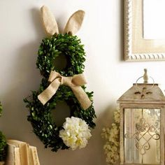 Rabbit wreath.- would be cute if made with pastel toule