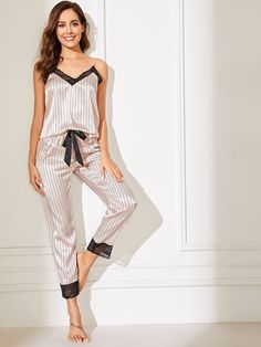 To find out about the Lace Trim Satin Cami Top & Striped Pants PJ Set at SHEIN, part of our latest Night Sets ready to shop online today! Cute Sleepwear, Satin Sleepwear, Satin Pajamas, Sleepwear Women, Pajamas Women, Nightwear, Pyjamas, Lingerie Bonita, Babydoll Lingerie