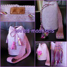 Buddha Mochila. De band is gemaakt met de techniek ply-split braiding (splitsvlechten). Tapestry Crochet, Kawaii, Diy Crafts, Backpacks, Create, Handmade, Bags, Fashion, Trapillo