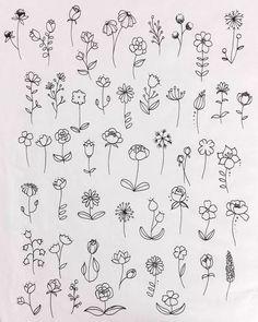 Simple Flower Drawing, Easy Flower Drawings, Flower Art Drawing, Flower Sketches, Floral Drawing, Art Sketches, Drawing Base, Simple Flowers To Draw, Tattoo Sketches