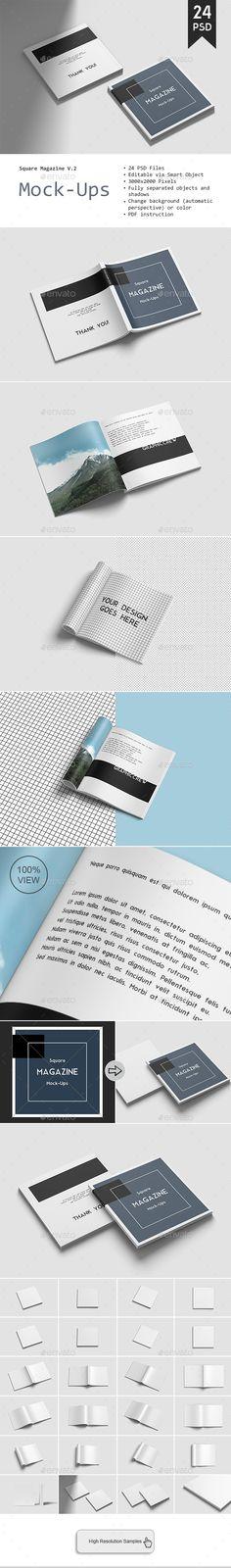 Square Magazine Mockup Vol. 2  #square #magazine #mockup #Mockups #mocku-ups #envato #graphicriver #brochure #template