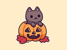 Pumpkin Kitty designed by Irina Mir. Connect with them on Dribbble; the global community for designers and creative professionals. Cute Halloween Drawings, Kawaii Halloween, Halloween Cartoons, Halloween Art, Cute Animal Drawings Kawaii, Cute Little Drawings, Cute Cartoon Drawings, Kawaii Doodles, Cute Doodles