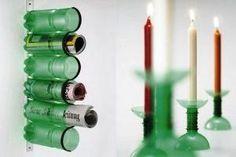Porta papeles o correspondencia (u otras cosas) y candelabros hechos con botellas pet reutilizadas