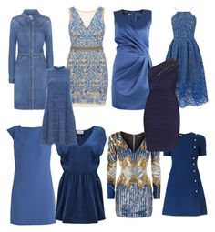 """Soft Autumn Blues"" by carlie-ann on Polyvore featuring Versace, Balmain, STELLA McCARTNEY, Nicole Miller, Warehouse, Gucci, Love Moschino, American Vintage and Hervé Léger"