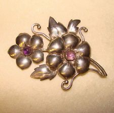 Fabulous Huge STERLING & AMETHYST Vintage TAXCO MEXICO Brooch