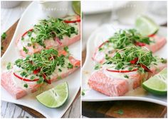 Poached salmon is one of my favorite meals! Arugula micro greens…..my current obsession. Coconut cream and white wine reduction….do I even need to qualify THAT one? And so I give you this delicious salmon recipe that's super easy to make and yet designed to impress. Poached Salmon w/ Coconut Cream Reduction Ingredients:Serves 2 2 6oz …