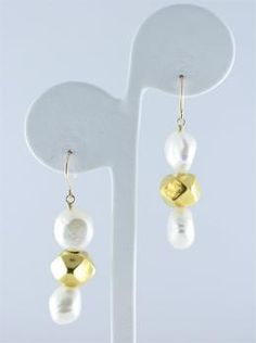 Randi Elyse fresh water pearl earrings with faceted gold beads.