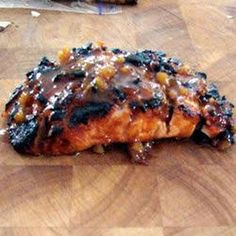 Apricot and Ginger Glazed Salmon Recipe Main Dishes with juice, dried apricot, honey, reduced sodium soy sauce, fresh ginger, garlic, cayenne pepper, ground cinnamon, salmon fillets