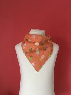 Orange Pineapple Summer Bandana Baby Dribble Bib Baby Girl