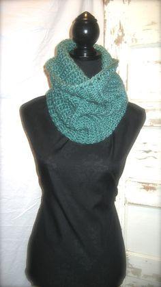 Robin's Egg Blue Crocheted Infinity Scarf by StitchofStyle on Etsy, $24.00