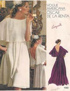 Vintage Vogue Americana Dress Pattern by Oscar De by CareyClothes Evening Dress Patterns, Vogue Dress Patterns, Vintage Dress Patterns, Vogue Sewing Patterns, Vintage Dresses, Vintage Outfits, Pattern Dress, Vogue Vintage, Moda Vintage