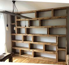 Home Library Design, Home Interior Design, Home Library Diy, Timber Shelves, Bookshelves, Room Divider Bookcase, Home Projects, Home Remodeling, Diy Furniture
