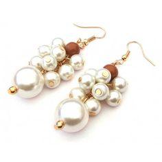 Aretes con Chapa de Oro y Perlas