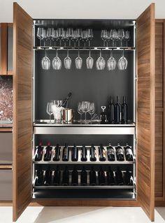 Kitchen Room Design, Home Room Design, Modern Kitchen Design, Interior Design Kitchen, Wine Cellar Design, Wine Cellar Modern, Home Bar Cabinet, Home Wine Cellars, Modern Home Bar
