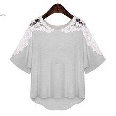 Free Shipping Women Fashion Lace Blouse Patchwork Casual Crochet Shirt Fashion Womens Lace Tops 38