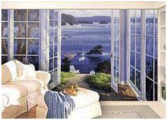Seaside murals, beach cottage decor, decorate walls with beach theme murals