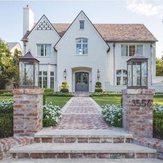 For the love of home 🏡. This home is absolutely and grabs your attention from the front step of the brick walkway to the… Style At Home, Future House, My House, Architecture Antique, Brick Walkway, Brick Path, Storybook Homes, Dream House Exterior, House Goals