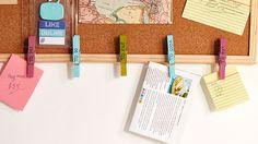 Pegs on a corkboard | Wall planner organisation tips | Tesco Living