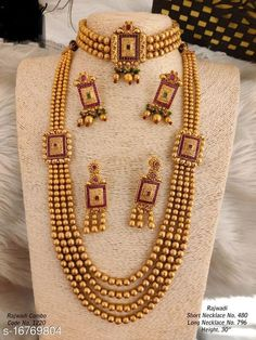 Jewellery Set Shimmering Colorful Jewellery Sets Base Metal: Alloy Plating: Gold Plated Stone Type: Pearls Sizing: Adjustable Country of Origin: India Sizes Available: Free Size   Catalog Rating: ★4 (942)  Catalog Name: Feminine Colorful Jewellery Sets CatalogID_3353489 C77-SC1093 Code: 906-16769804-0891