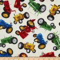 Timeless Treasures Tossed Tractors Cream
