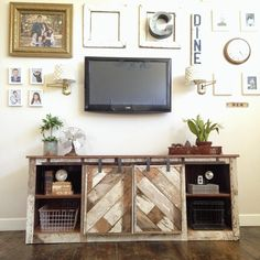 Grand Design Co reclaimed wood console with sliding barn door track