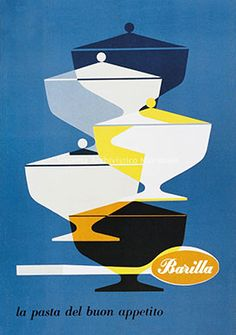 Vintage Barilla Pasta Ads by Erberto Carboni 1950s Posters, Poster Ads, Advertising Poster, Food Advertising, Advertising Design, Retro Illustration, Graphic Design Illustration, Vintage Advertisements, Vintage Ads