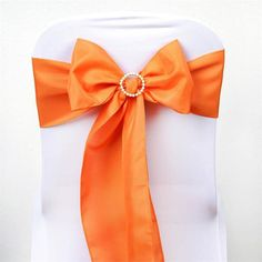 Coral Orange Polyester Sash | eFavorMart /  Plan as many events as you want and invite as many guest as you desire without even worrying about the expenses and your budget. With our sturdy and economical polyester chair sashes, you can now transform any dining experience into a magnificent feast with an upscale feel and an elite look without breaking the banks. Get inspired by our premium quality polyester chair sashes that open the gates of creativity and ingenuity. With such a high…