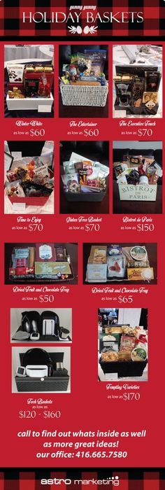 Yummy Gift basket Ideas for the holidays. Loads of price ranges and options. Visit  http://www.astromarketing.ca/deals.html to view the flyer and call 416.665.7580 to find out whats inside and more!