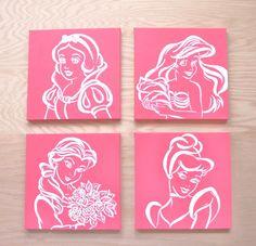 modern princess art. 4 12x12 canvases. disney. by sincerelyYOU