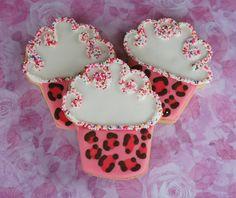 leopard print cupcake cookies