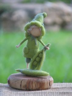 Peas elf  needle felted decor by Made4uByMagic on Etsy