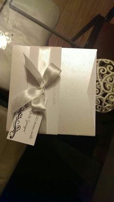 White silver wedding invitation