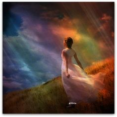 Rainbow colored sky and sun rays coming down from Heaven on a lady in a white dress looking up. I look to You Jesus. Claude Monet, Pablo Picasso, I Look To You, Spiritual Images, Bride Of Christ, Prophetic Art, Jesus Art, Sisters In Christ, Multiple Exposure