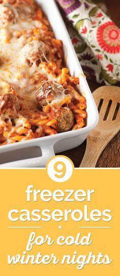 9 Freezer Casseroles for Cold Winter Nights | thegoodstuff Good variety