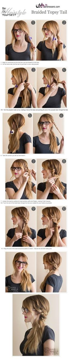 Easy and fast to do side ponytail with braid - everyday hairstyle