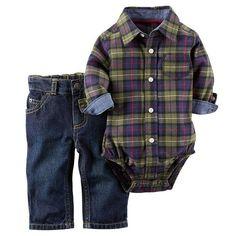 Carter's Plaid Button-Down Bodysuit & Jeans Set - Baby Boy, Size: