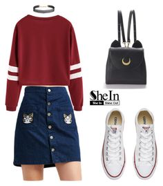 """""""SHEIN T-Shirt"""" by tania-alves ❤ liked on Polyvore featuring Converse, Humble Chic and WithChic"""