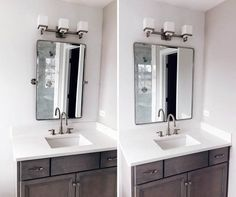 Avoid These Two Major Mistakes When Buying Bathroom Vanity Mirrors — First Thyme Mom Diy Bathroom, Bathroom Vanity Tray, Bathroom Vanity Makeover, Trendy Bathroom, Bathroom Vanity, Bathroom Vanity Mirror, Bathroom, Bathroom Sink Cabinets, Bathroom Design