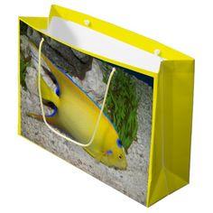 Queen Angelfish Large Gift Bag #fish #giftbags #aquariums #giftpresentation #yellow