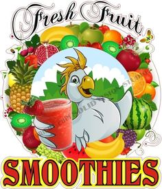 "24"" Fresh Fruit Smoothies Concession Drink Fast Food Truck Stand Cart SIgn Decal"