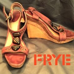 """Frye Embellished Wedges - Sz 6.5 - Retail $238 Frye """"Bridget"""" wooden wedges with reddish brown leather t-straps and stone embellishments. Buckles at ankle. Made with Frye's signature """"distressed"""" look. Only worn once. Excellent condition. Measurements: 5"""" heel, 0.75"""" platform. Size 6.5. Fits true to size. Retail $238.    ✅Always Authentic✅ ⬇️Bundle & Get 10% Off & Save on Shipping⬇️ ❌Trades❌PayPal❌ Frye Shoes Wedges"""