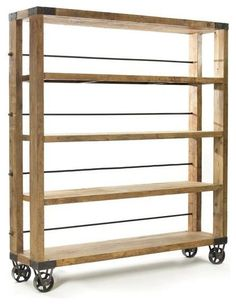 Keep your books handy with this reclaimed wood and iron rolling study bookcase from French country furniture collection. It features a natural finish that makes