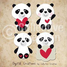I Luv Panda Bears Digital Clip Art - Great for Scrapbooking, Card Making and General Paper Crafts