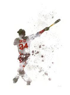David Ortiz ART PRINT illustration Boston Red Sox by SubjectArt